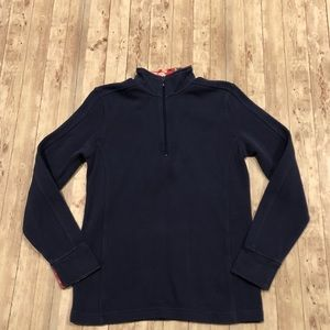 Orvis quarter zip pullover with floral accent